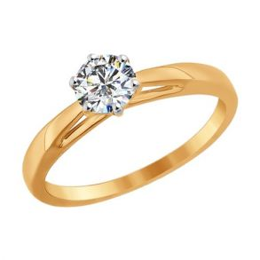 Помолвочное кольцо из золота со Swarovski Zirconia 81010209 SOKOLOV