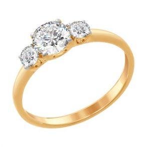 Кольцо из золочёного серебра со Swarovski Zirconia 89010079 SOKOLOV