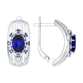 Серьги из серебра с корундами сапфировыми (синт.) и синими фианитами 88020035 SOKOLOV