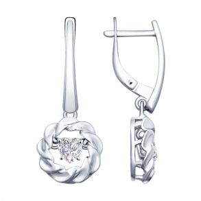 Серьги из серебра со Swarovski Zirconia 89020095 SOKOLOV