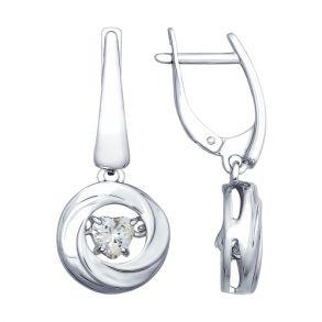 Серьги из серебра со Swarovski Zirconia 89020090 SOKOLOV