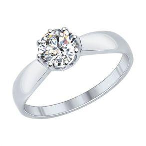 Помолвочное кольцо из серебра с фианитом 89010029 SOKOLOV