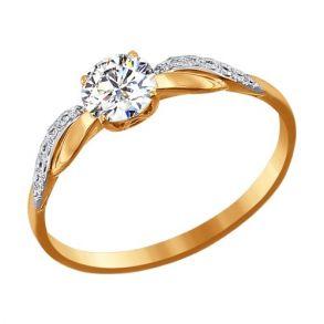 Помолвочное кольцо из золота со Swarovski Zirconia 81010201 SOKOLOV