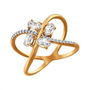 Кольцо из золота со Swarovski Zirconia 81010171 SOKOLOV