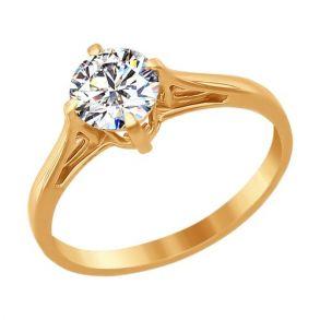 Помолвочное кольцо из золота со Swarovski Zirconia 81010023 SOKOLOV