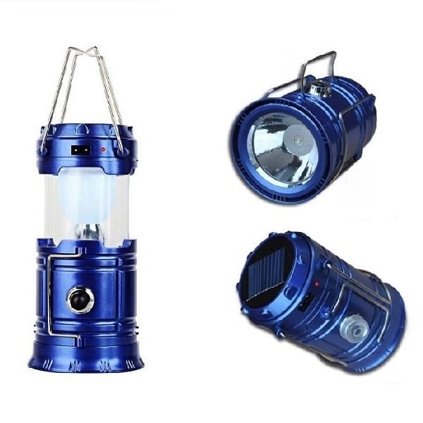 Складной кемпинговый фонарь 3-в-1, 17 см, цвет синий