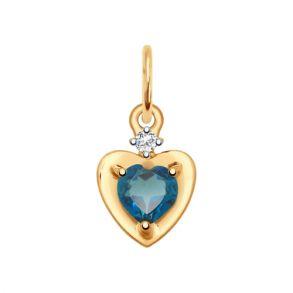 Подвеска из золота с синим топазом и фианитом 731650 SOKOLOV