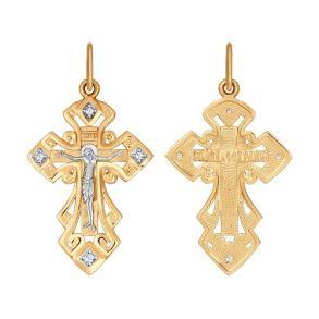 Крест из золота с фианитами 121392