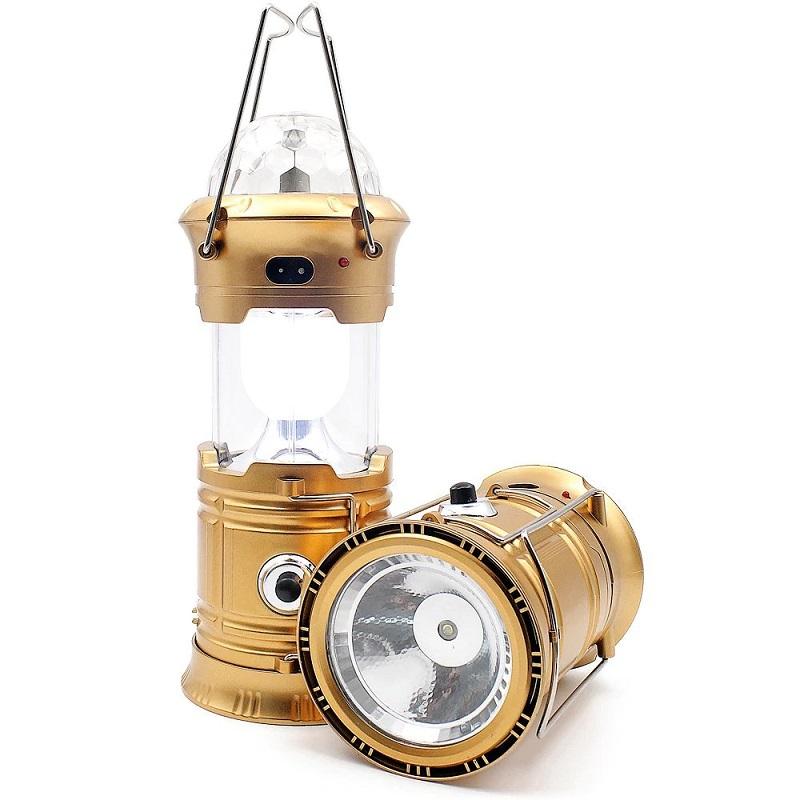 Складной кемпинговый фонарь с диско-шаром 4-в-1, 19 см, цвет золотистый