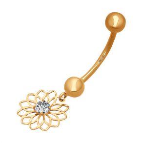 Пирсинг в пупок из золота с алмазной гранью с фианитом 060079 SOKOLOV