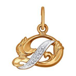 Подвеска-буква из комбинированного золота с фианитами 030074 SOKOLOV