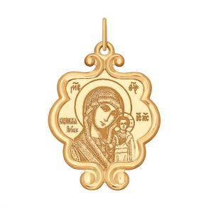 Икона из золота с ликом Казанской Божией Матери 104117 SOKOLOV