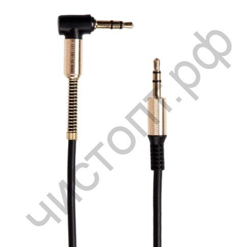 Кабель(3.5) папа-папа 3.5 stereo plug на 3.5 stereo plug резин. угловой метал  1м AUX