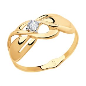 Кольцо из золота с фианитом 018115 SOKOLOV