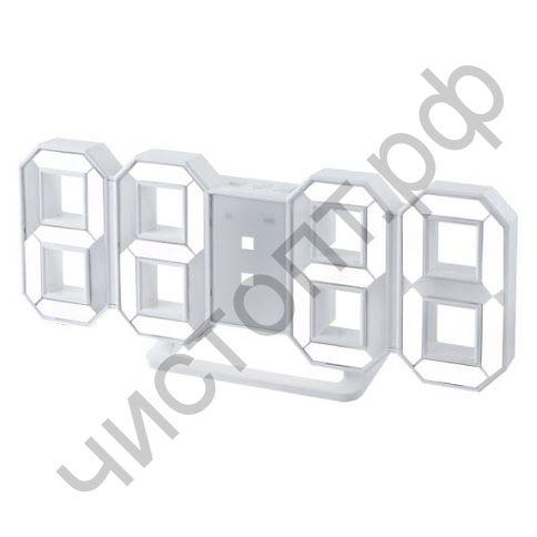 "Часы  эл. сетев. Perfeo LED ""LUMINOUS"", будильн., настол/настен. , белый корпус / белая подсветка питан. USB (PF-5200) (5В)"
