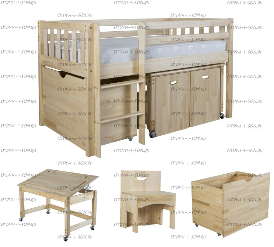 Кровать-чердак Кроха-2 с ящиком и партой