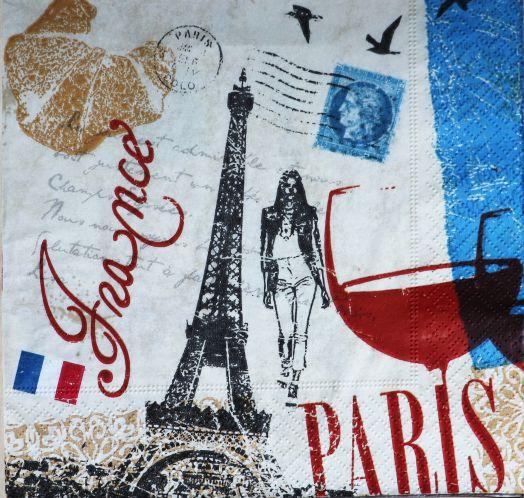 Салфетка бумажная 30*30 Прогулки по Парижу