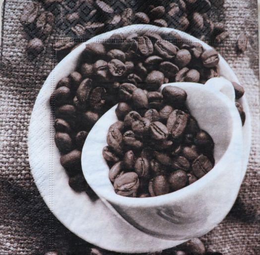 Салфетка бумажная 30*30 Кофейные зерна в чашке