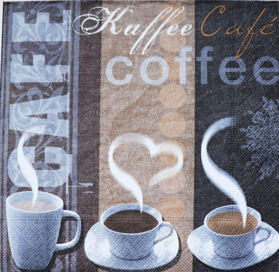 Салфетка бумажная 30*30 Три чашки кофе