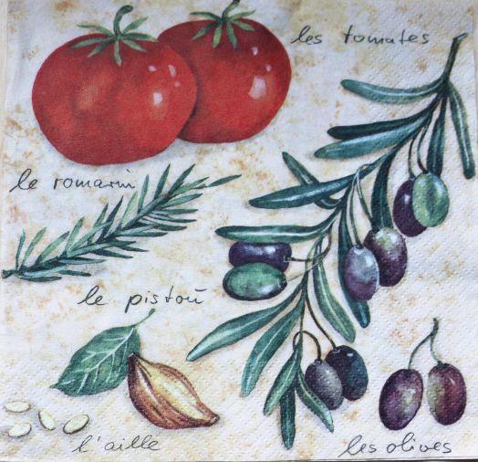 Салфетка бумажная 30*30 Томаты и оливки
