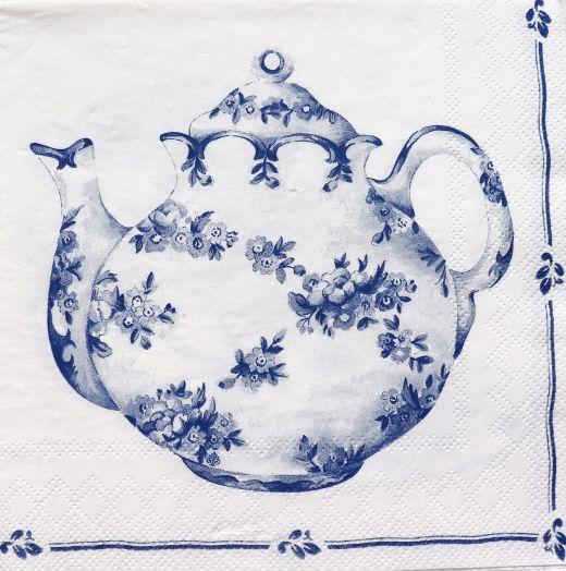 Салфетка бумажная 30*30 Чайник гжель