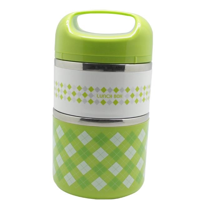 Термо Ланч-Бокс В Виде Термоса С Двумя Отсеками Lunch Box, 950 Мл, Цвет Зеленый