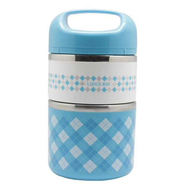 Термо Ланч-Бокс В Виде Термоса С Двумя Отсеками Lunch Box, 950 Мл, Цвет Голубой