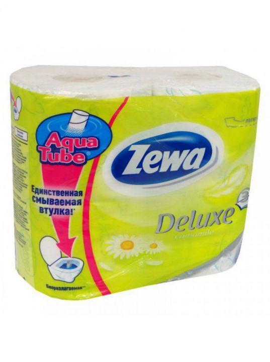 Туалетная бумага Зева Deluxe 3х сл. 4шт с цветы/ромашка
