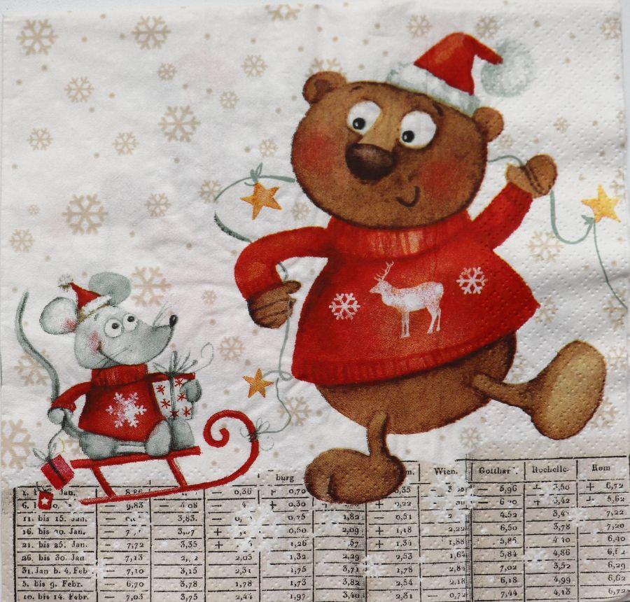 Салфетка бумажная 30*30 Мышка и медведь