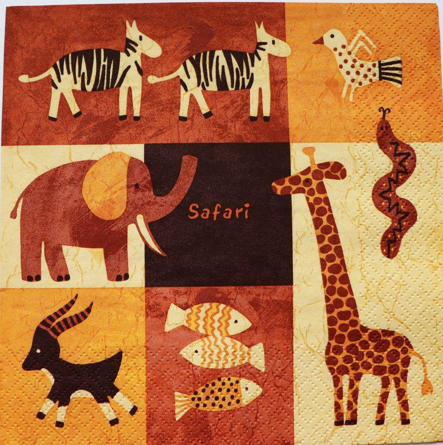 Салфетка бумажная 30*30 Африканское детство