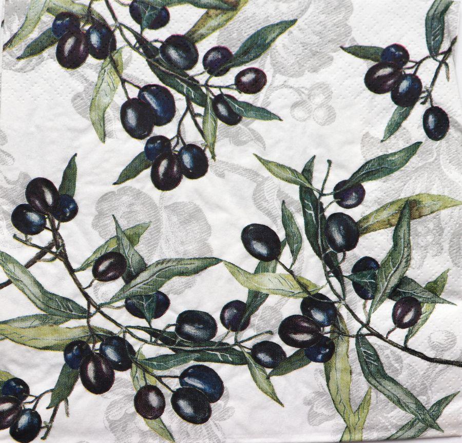 Салфетка бумажная 30*30 Спелые маслины