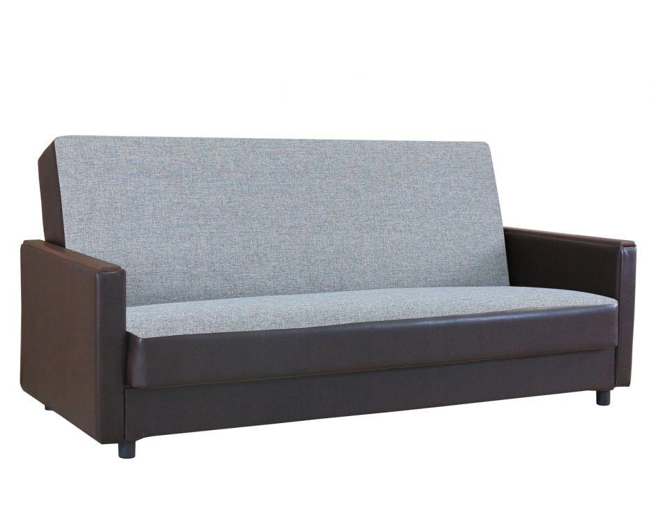 """Диван-кровать """"Классика Д"""" шенилл серый + экокожа коричневый"""