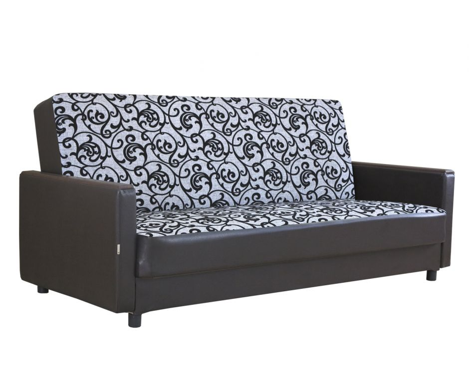 """Диван-кровать """"Классика Д""""  шенилл серый цветы + экокожа коричневый"""