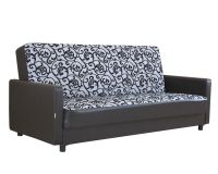 Диван-кровать Классика Д шенилл серый цветы + экокожа коричневый