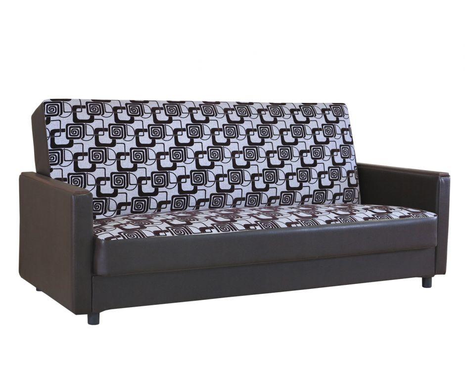 Диван-кровать Классика Д  шенилл ромб + экокожа коричневый