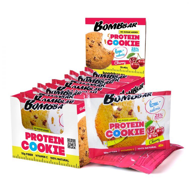 Низкокалорийное протеиновое печенье от Bombbar 40 гр вишня