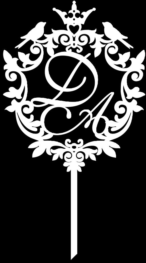 Топпер на свадьбу с инициалами в виде герба
