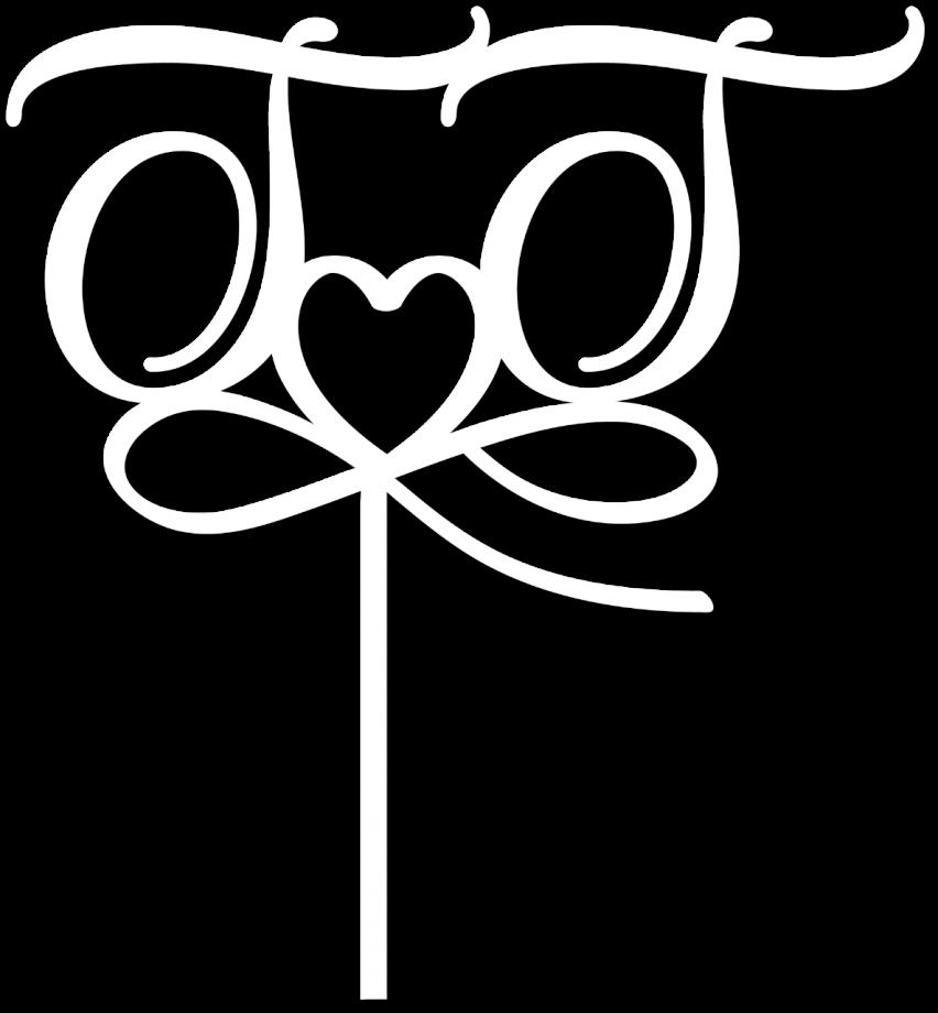 Топпер с инициалами и соединением сердце