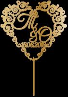 Топпер на свадьбу монограмма в виде сердца с инициалами