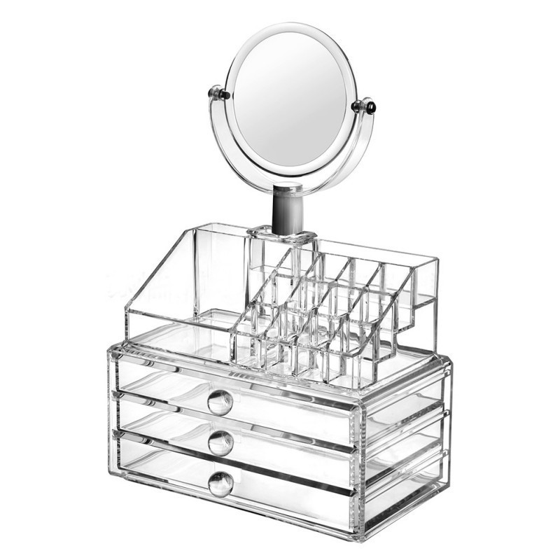 Акриловый Органайзер Для Хранения Косметики С Зеркалом Cosmetic Organizer