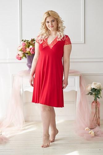 Ночная сорочка 0303 красная, вискоза