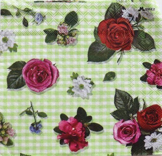 Салфетка бумажная 30*30 Розы на клетках