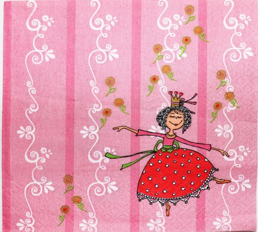 Салфетка бумажная 30*30 Принцесса на розовом