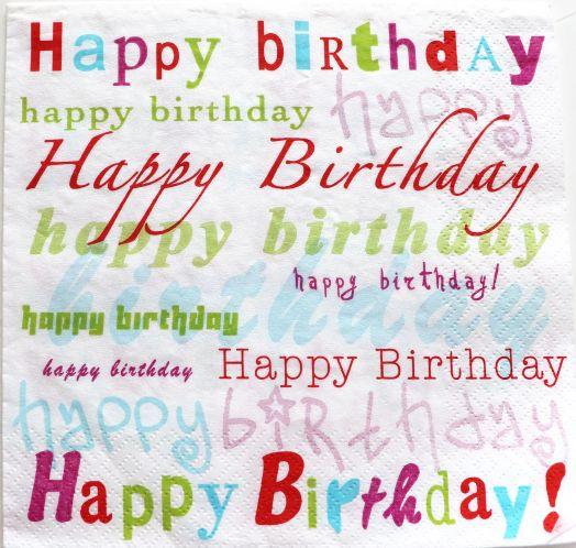 Салфетка бумажная 30*30 Надписи Happy birthday