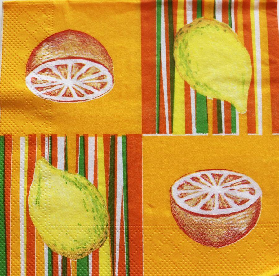 Салфетка бумажная 30*30 Лимоны и апельсины