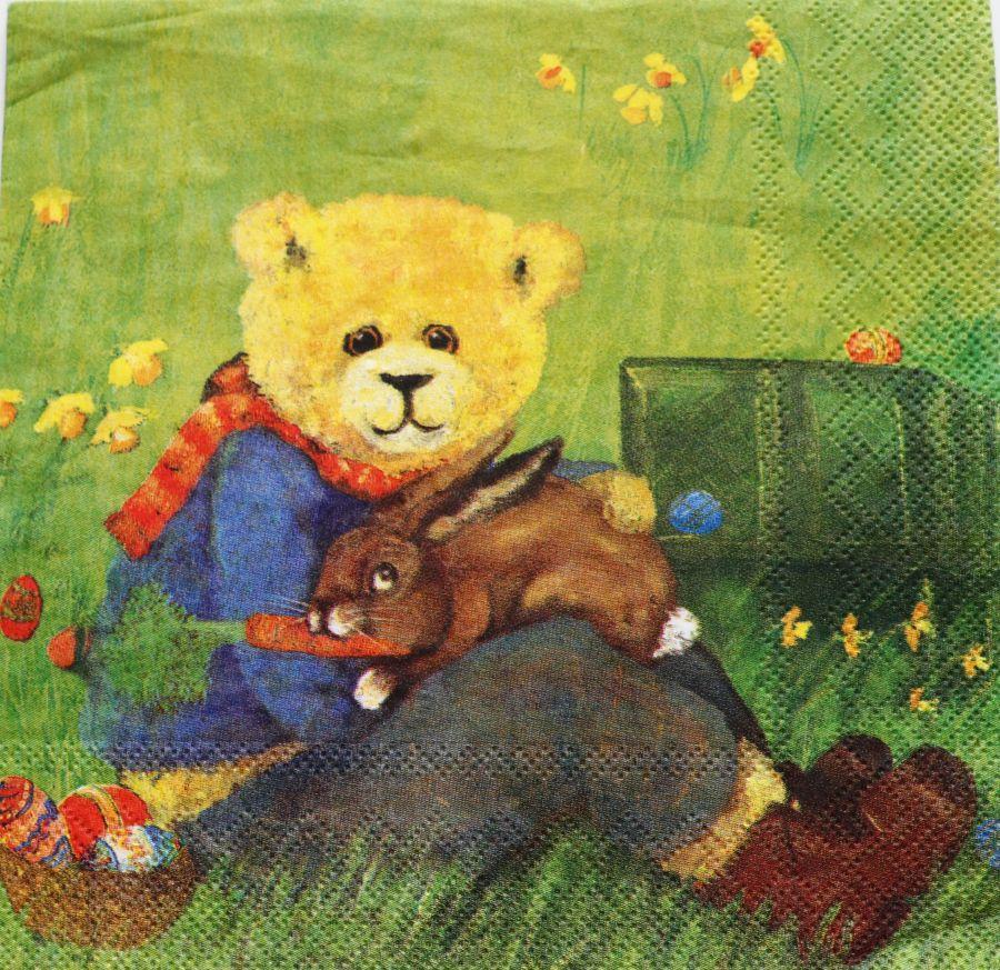 Салфетка бумажная 30*30 Пасхальный кролик и мишка