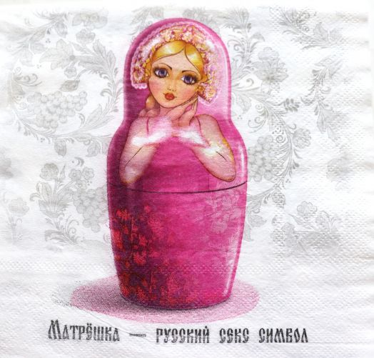 Салфетка бумажная 30*30 Русская матрешка