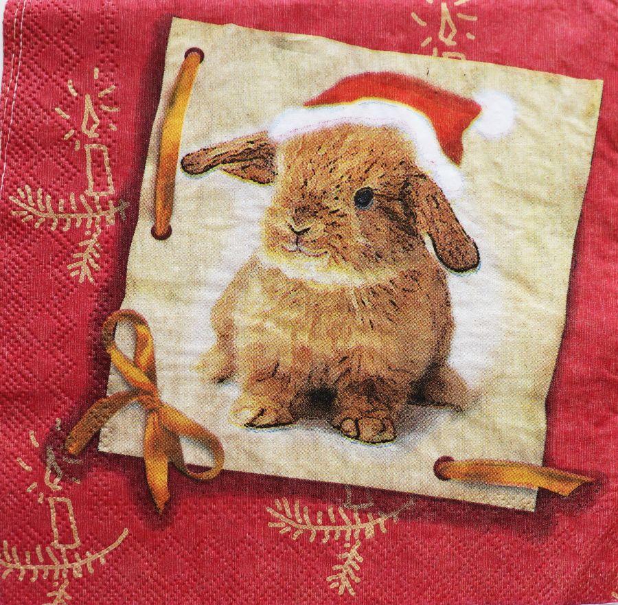 Салфетка бумажная 30*30 Кролик в шапочке