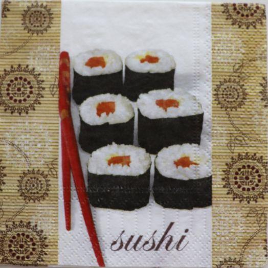 Салфетка бумажная 25*25 Sushi