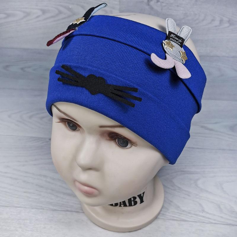 п1047-53 Повязка трикотажная с отворотами Зайцы бархатные усики синяя